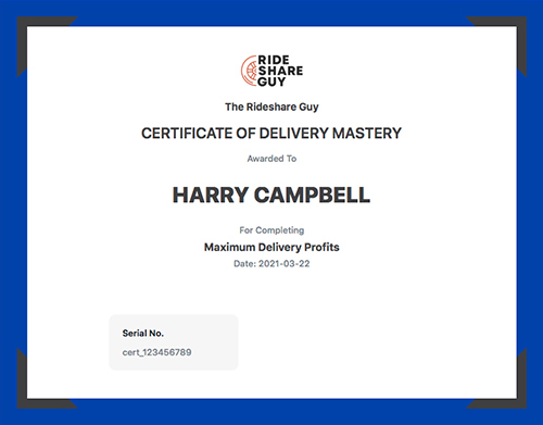 certificate of completion for maximum delivery profits